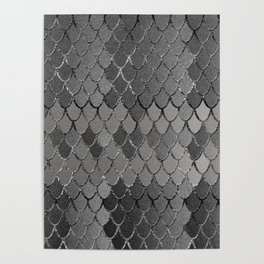 Mermaid Scales Silver Gray Glam #1 #shiny #decor #art #society6 Poster