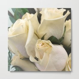 Ivory White Roses in Remembrance of Elizabeth Metal Print
