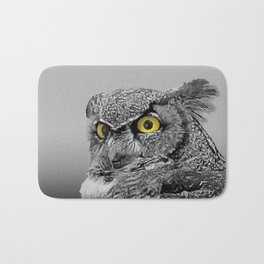 Contemporary Black & White Great Horned Owl Bird Yellow eye Art A515 Bath Mat