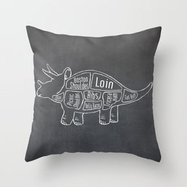 Triceratops Dinosaur (A.K.A Three Horn Face) Butcher Meat Diagram Throw Pillow