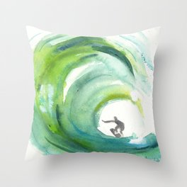 Wave with Surfer Throw Pillow