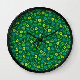 St Patrick's Day Lucky Shamrock Pattern Wall Clock