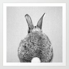 Rabbit Tail - Black & White Art Print