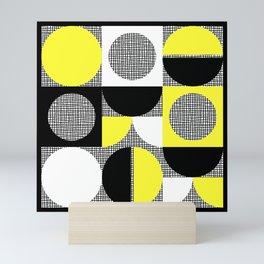 Segments and Circles Black Yellow Mini Art Print