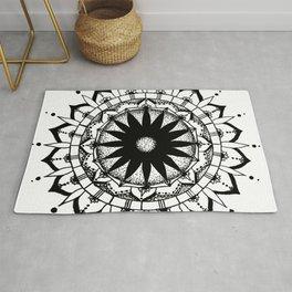 Original Mandala- black and white hand drawn with ink Rug