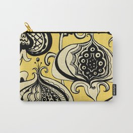 Black and Yellow Floral Carry-All Pouch