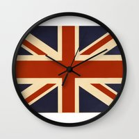 british flag Wall Clocks featuring British Flag Vintage Illustration by MY  HOME