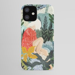 The Distracted Reader, Jungle Tropical Painting, Woman in Red Modern Bohemian Eclectic iPhone Case