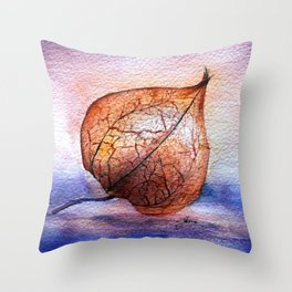 Watercolor Physalis in Light Throw Pillow