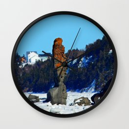 Stone Tower by the Frozen Sea Wall Clock