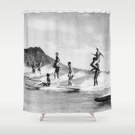 Vintage Hawaii Tandem Surfing Shower Curtain