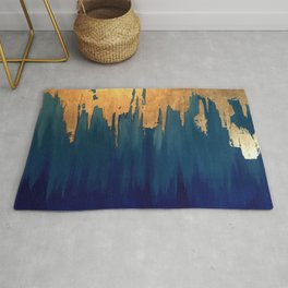 Gold Leaf & Blue Abstract Rug