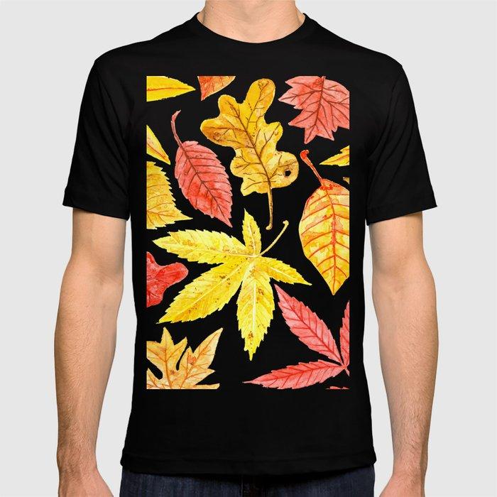 Atumn leaves watercolor T-shirt