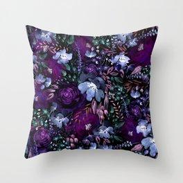 Deep Floral Chaos blue & violet Throw Pillow