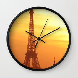 Eiffel Tower in Sunset Wall Clock