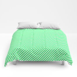 Lanai Lime Green - Acid Green and White Candy Cane Stripe Comforters