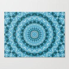 Light Blue Kaleidoscope / Mandala Canvas Print