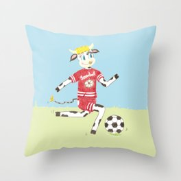 Snowbell the cow plays soccer Throw Pillow
