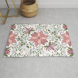 Cute Vintage Pink Floral Doodles Tile Art Rug