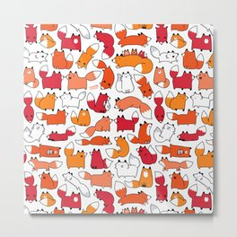 Foxy Foxes Doodle Metal Print
