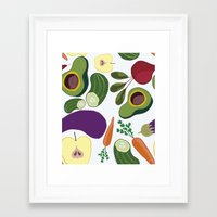 vegetables Framed Art Prints featuring vegetables by Aina Bestard