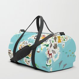 Cartoon animal world map for children and kids, Animals from all over the world Duffle Bag