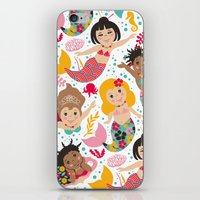mermaids iPhone & iPod Skins featuring Mermaids by Helene Michau