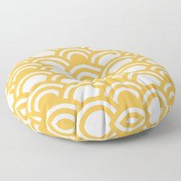 Yellow & White Half Circle Pattern Floor Pillow