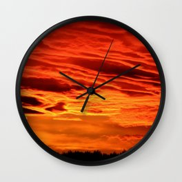 Flame Coloured Sunset Sky Wall Clock