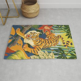 Tiger Slinking Through Jungle illustration - retro style Rug