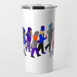 Winter children at fairy lake Travel Mug