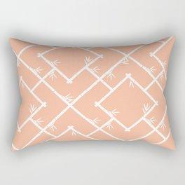 Bamboo Chinoiserie Lattice in Peach + White Rectangular Pillow