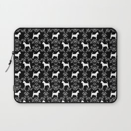 Chihuahua silhouette black and white florals flower pattern art pattern dog breed Laptop Sleeve