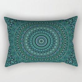 Turquoise Glass Kaleidoscope Mandala Rectangular Pillow