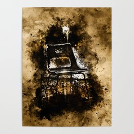 chair at lost place splatter watercolor Poster