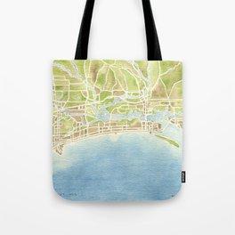 Biloxi Mississippi coast watercolor map Tote Bag