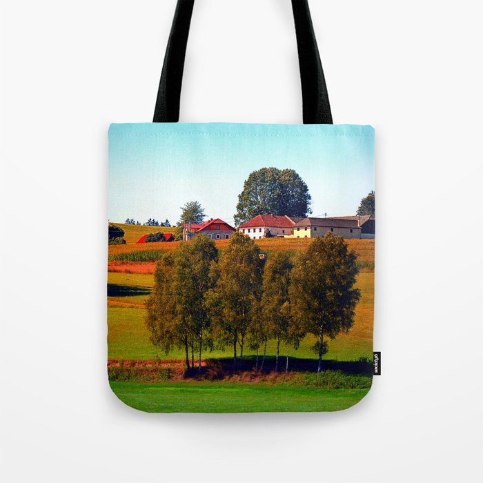 Guardian trees in front of a farm Tote Bag