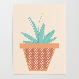 Aloe My Little Friend | Aloe Potted Plant on Lt Peach Poster