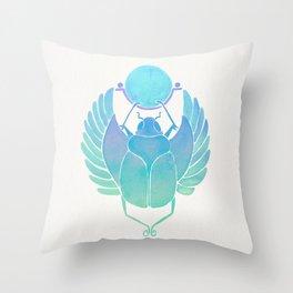 Egyptian Scarab – Turquoise Ombré Throw Pillow