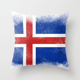Iceland flag isolated Throw Pillow