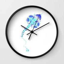 Abstract kite - blue Wall Clock