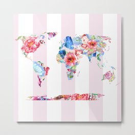 Floral World - Pink Stripe Metal Print
