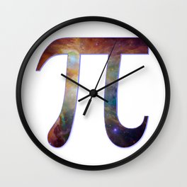 Happy pi day - pi geek design with galaxy space nebula stars background math nerd geeky hipster Wall Clock