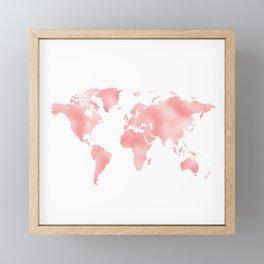 Pink Shiny Metal Foil Rose Gold World Map Framed Mini Art Print