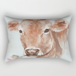 Cow with Rose by Debi Coules Rectangular Pillow
