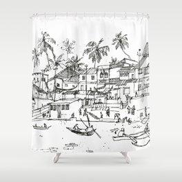 Minimal Line Settlement 10 Shower Curtain