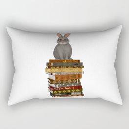 rabbit on books Rectangular Pillow