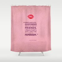 feminism Shower Curtains featuring Rules Of Feminism by Mark Rogan
