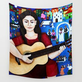 Violeta Parra and her guitar Wall Tapestry