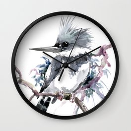 Belted Kingfisher, Gray design, Gray design Wall Clock